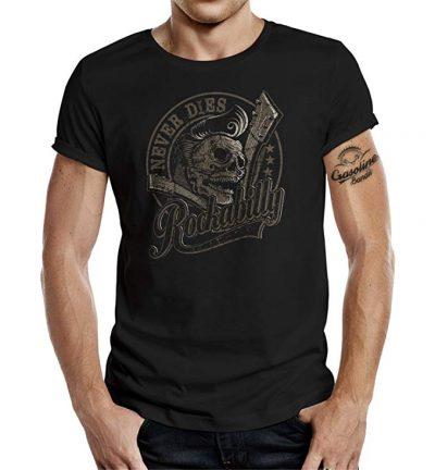GASOLINE BANDIT Rockabilly Camiseta Original Diseno Rockabilly Never Dies! III