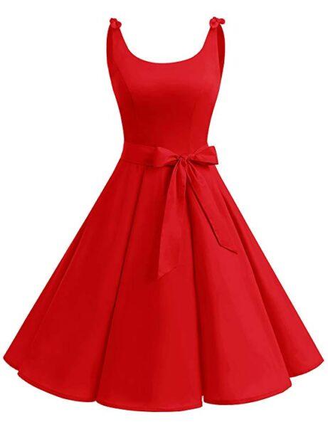 66580f2a99cb Bbonlinedress Vestidos de 1950 Estampado Vintage Retro Cóctel Rockabilly  con Lazo