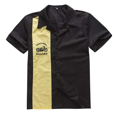 Candow Look Men Work Shirts Hiphop Vintage Yellow&Black with Embroidery