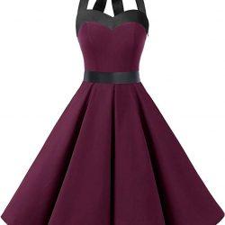 Dresstells Halter 50s Rockabilly Polka Dots Audrey Dress Retro Cocktail Dress