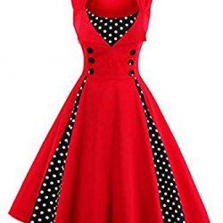 vkstar® Vintage 50 para vestido de noche elegante con botones Rockabilly Swing vestido de cóctel